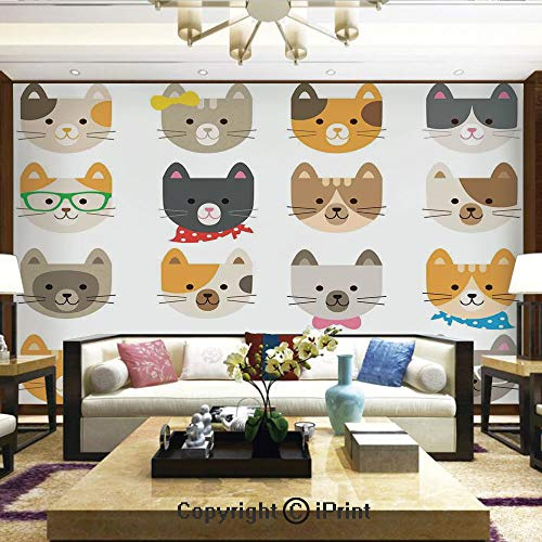 Artistic Background Removable Wall Mural Self-Adhesive,Cats Costume with Glasses Bow Tie Bandanna Cartoon Art Craft Pattern Print Pets Animal Lovers Print Decorative,Home Decor - 66x96 inches]()