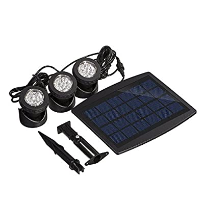Solar Powered Adjustable Waterproof Outdoor Security Night Light 18 LEDs Landscape Spotlight Projection Light with 3 Submersible Lamps for Garden Pool Pond Outdoor Decoration & Lighting, White