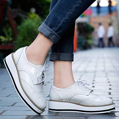 Platform Toe Shoe Lace Square Up White Women's Oxfords Wingtips DADAWEN FYq5w5