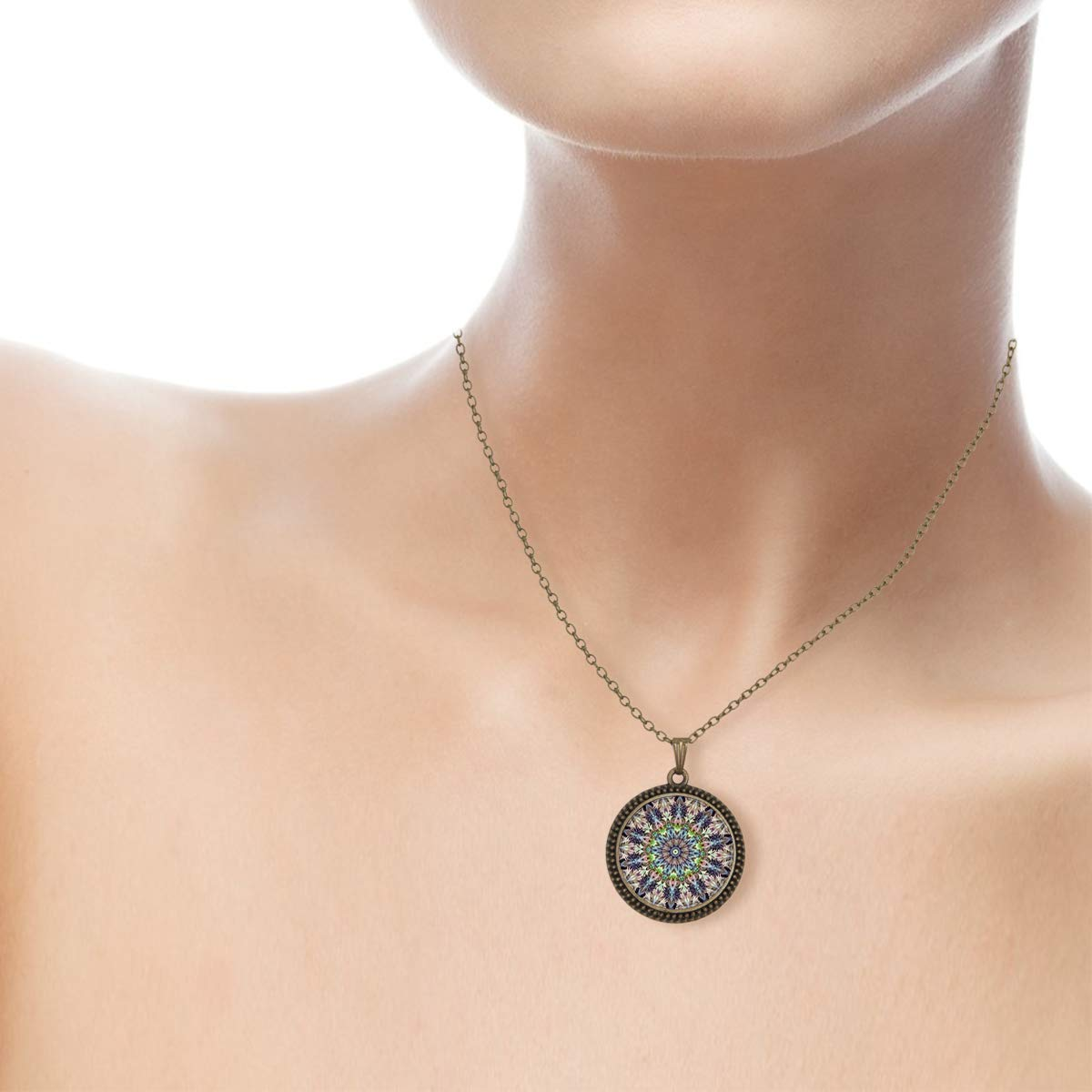 Lightrain Kaleidoscope Buddhism Mandala Pendant Necklace Vintage Bronze Chain Statement Necklace Handmade Jewelry Gifts