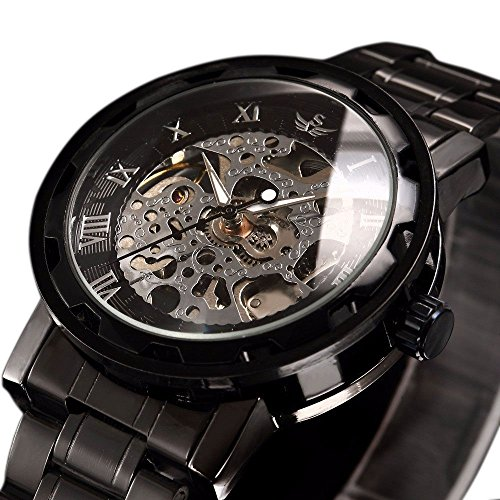 Hand Automatic Watch - Watch,Mens Watch,Luxury Classic Skeleton Mechanical Stainless Steel Watch with Link Bracelet,Dress Automatic Wrist Hand-Wind Watch (Black)