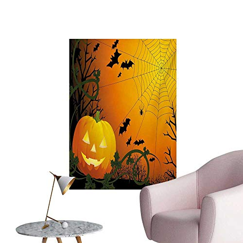 ParadiseDecor Spider Web Corridor/Indoor/Living Room Halloween Themed Composition with Pumpkin Leaves Trees Web and BatsOrange Dark Green Black W32 xL36 Funny Poster ()