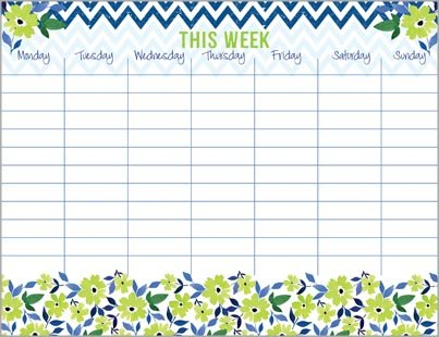 Flowers Chevron Weekly Calendar Attachable