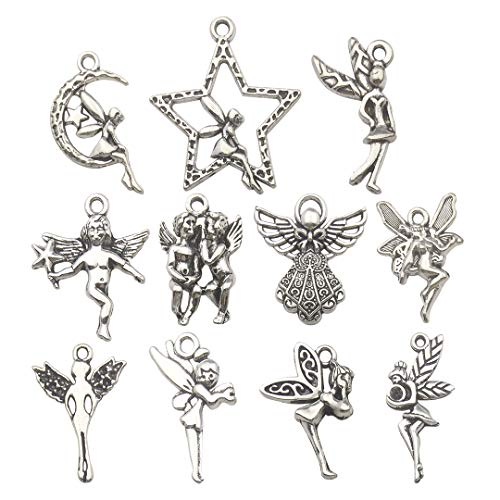 Youdiyla 65 PCS Fairy Charms Collection, Mix Silver Cupid Pixie Angel Winged Woodland Fairy on The Moon Metal Charm Pendant Supplies Findings for Jewelry Making (HM151)
