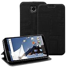 Fosmon® Google Nexus 6 Case (CADDY-RETRO) Leather Multipurpose Flip Cover Case with (Built-in Stand) for Motorola Nexus 6 - Fosmon Retail Packaging (Black)