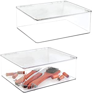 mDesign Plastic Stackable Kitchen Pantry Cabinet/Refrigerator Food Storage Container Box with Lid - Organizer and Holder for Packets, Snacks, Fruits, Produce, Pasta - 2 Pack - Clear