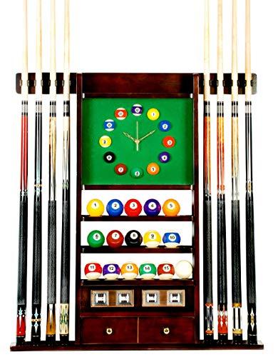 Cue Rack Only - 8 Pool - Billiard Stick & Ball Wall Rack W Clock Mahogany Finish (Mahogany)