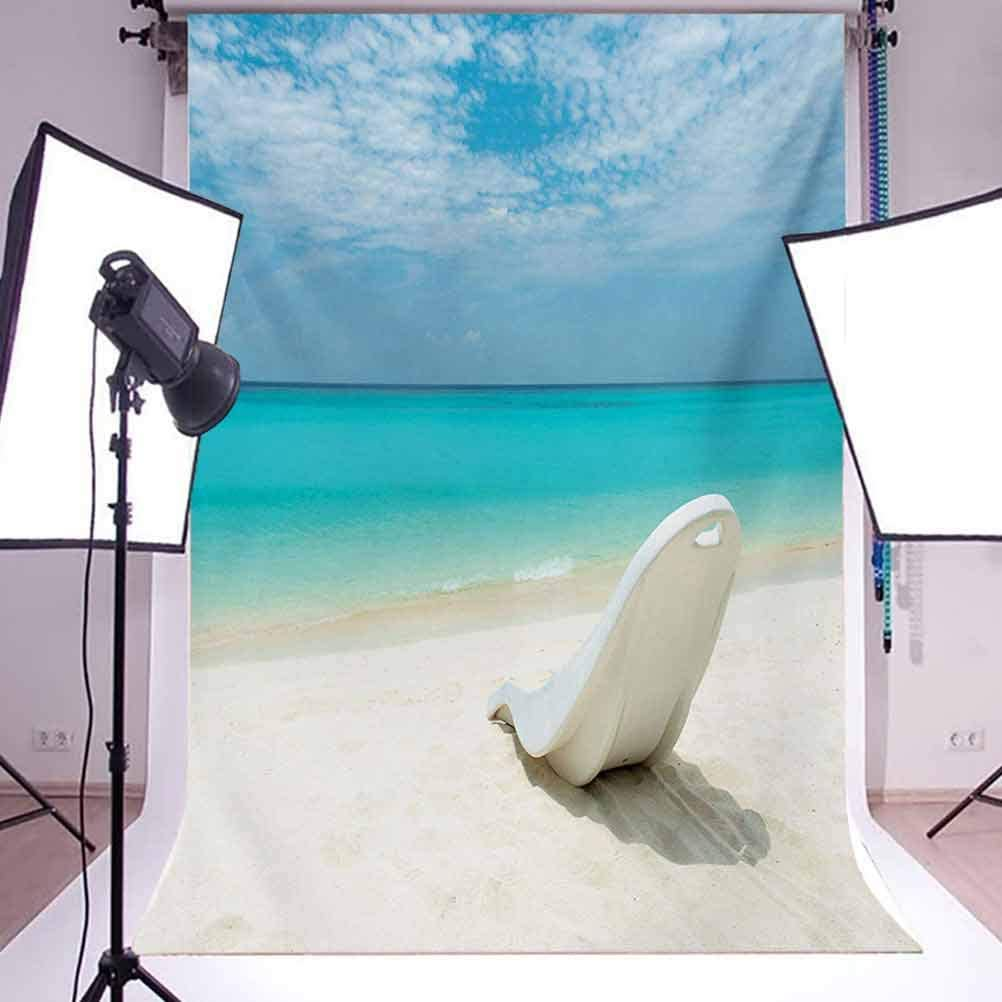 Seaside 10x15 FT Photo Backdrops,Maldivian Beach Sunbed at Seashore Sunny Day Travel Destination Picture Background for Kid Baby Boy Girl Artistic Portrait Photo Shoot Studio Props Video Drape Vinyl