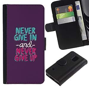 LASTONE PHONE CASE / Lujo Billetera de Cuero Caso del tirón Titular de la tarjeta Flip Carcasa Funda para Samsung Galaxy S5 V SM-G900 / never give in up mint green purple