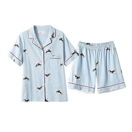 ShenZuYangShop Pijamas camisón camisón de Verano señoras Pijamas de algodón de Manga Corta Lindo Perro Ropa