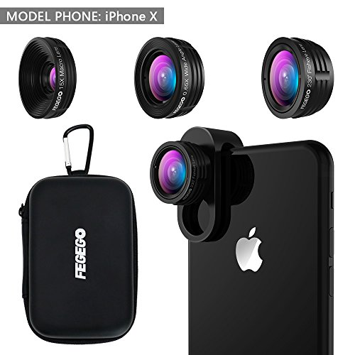 FEGEGO Camera Lens Kit for iPhone X/ 8/ 7Plus/ 7/ 6sPlus, Samsung S8+/ Note8 and other Cellphones (230° Fisheye Lens, 0.65X Super Wide Angle Lens, 15X Super Macro Lens) - Black by FEGEGO