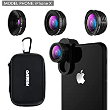 FEGEGO Camera Lens Kit for iPhone X/ 8/ 7Plus/ 7/ 6sPlus, Samsung S8+/ Note8 and other Cellphones (230° Fisheye Lens, 0.65X Super Wide Angle Lens, 15X Super Macro Lens) - Black