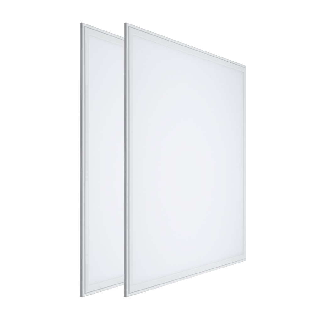 LTMATE 2x2FT 40W 5000K Cool White, Ultra Thin LED Flat Panel Light, Drop Ceiling Light, Edge-Lit, 4400 Lumens, 0-10V Dimmable, White Frame, No Flicker, DLC-Qualified, 2x2 5000K, 2pack