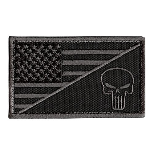- LEGEEON Black Subdued USA Flag Punisher Skull ACU Navy Seals Morale Army Gear Hook-and-Loop Patch