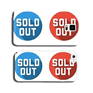Collection of 4 isolated flat colorful buttons for sold out cell phone cover case iPhone5