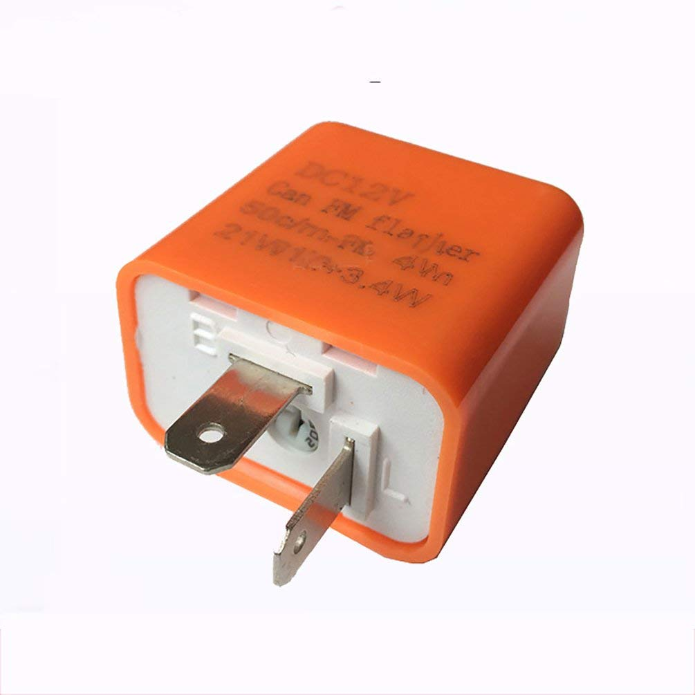 2 Pin Speed Adjustable LED Indicator Waterproof Flasher Relay Resistor Orange