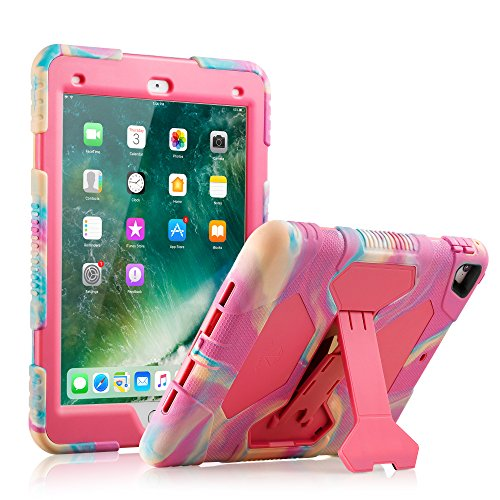9.7 Case Protective Kids Shockproof Impact Resistant Cases Covers with Screen Protector for Apple 9.7 Pro Case (2016)—Not Fit for 2017 Model New iPad 9.7 inch (PinkCamo/Rose) ()