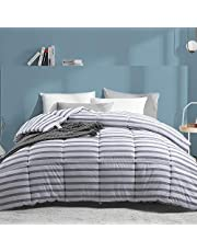 LANELIFE Stripe Twin Size (64x88) Reversible Down Alternative Comforter All Season Fluffy Warm Quilt Down Comforter Hotel Use Luxurious Soft Down Alternative Duvet Comforter Duvet Insert Comforter with Corner tabs……