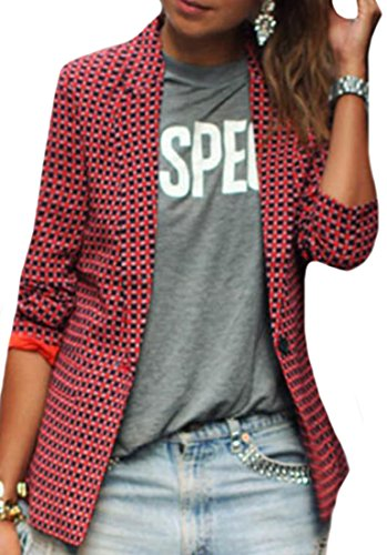 YUNY Women's Casual Lapel One Button Plaid Short Blazers Jacket Red (Military Style Blazer)