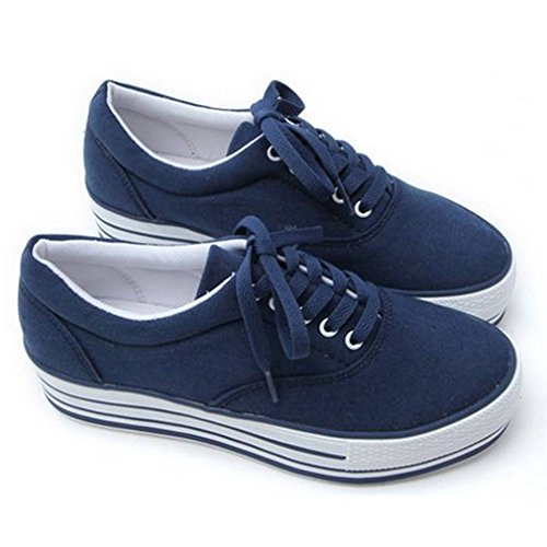 580065a3905d lovely EpicStep Women s Casual Comfort Simple Canvas Lace Up Thick Soles  Shoes Fashion Sneakers Trainers
