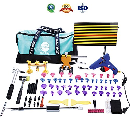 Gliston 89 PCS Pro Paintless Dent Removal Tools Kits PDR Slider Hammer Dent Puller Kits Golder Dent Lifter LED Reflector Board Tool Bag for Car Hail Damage Remover