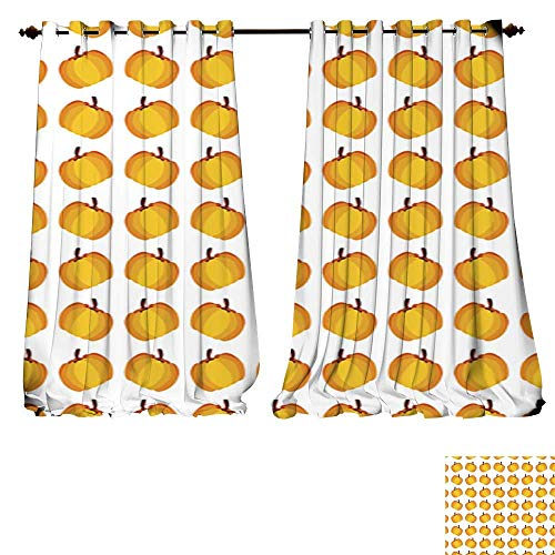 DESPKON-HOME Blackout Curtains Panels for Bedroom Orange Holiday Seamless Halloween Pumpkin Pattern Solid Ring Top Window Drapes-W120 x L84/Pair ()