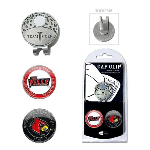 Team Golf NCAA Louisville Cardinals Golf Cap Clip with 2 Removable Double-Sided Enamel Magnetic Ball Markers, Attaches Easily to Hats