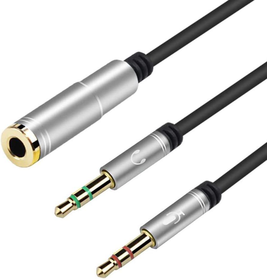 Est/éreo Conector Jack 1 Hembra a 2 Macho Cable Audio Divisor para Auricular del Micr/ófono EasyULT 3.5mm Audio Jack Y Splitter Cable 30CM Plata