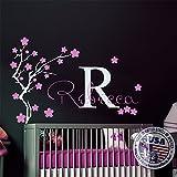 Girls Name Wall Decals Monogram Sticker Decal Nursery Bedroom Decor Initial Letter Tree Vinyl Sticker MM18