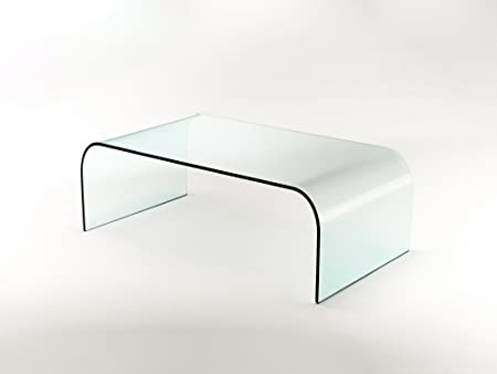Mesa de centro Nashville de cristal curvado: Amazon.es: Hogar