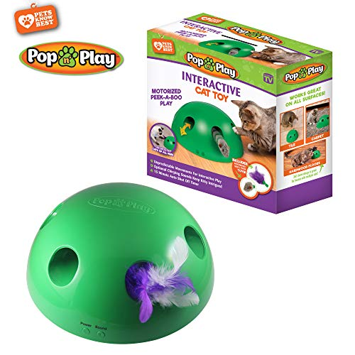 Allstar Innovations Pop N Play Interactive Motion Cat Toy, Includes: Electronic Smart Random Moving Feather & Mouse Teaser, Mouse Squeak Sound Optional & Auto Shut Off. Best Cat Toy Ever!