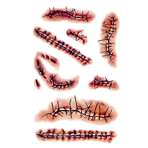 Coobbar 10pcs Halloween Zombie Scars Tattoos With Fake Scar Bloody Costume Makeup Halloween Decoration Terror Wound Scary Blood Injury Sticker (3) -