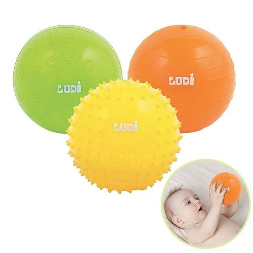 """LUDI - Coffret de 3 petites balles sensorielles. Dès 6 mois. 1 balle nervurée, 1 balle """"chiffres et alphabet"""" et 1 balle à picots 8 cm. Balles souples et  faciles à agripper - réf. 2789"""