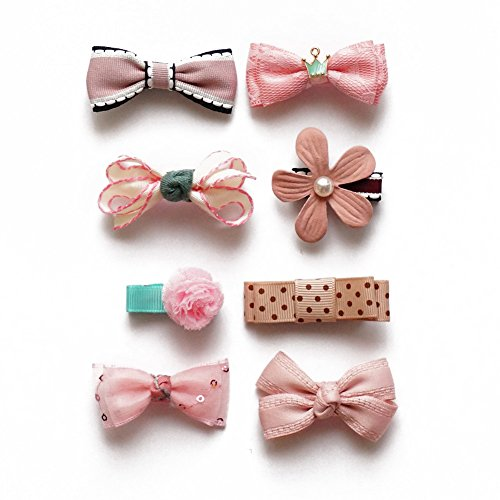 Belle Beau Baby Girls Hair Bows, Hair Clips, Ribbon Lined Alligator Hair Clips (B)