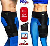 (US) BODY HELP Hip Brace Support + Hot Cold Reusable Pack for Immediate Pain Relief + Bag + Ebook + Instructions Best Thigh Belt for Men Women Adjustable Groin Wrap Hamstring Strap for Strain Nerve Sciatic