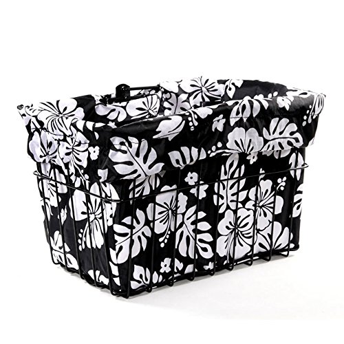 (Cruiser Candy Black/White Hibiscus Bicycle Basket Liner)