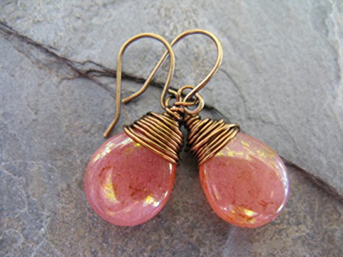 Bronze Rose Peach Czech Glass Drop Wire Wrapped Earrings Boho Artisan - Handmade Wire Wrapped Earrings