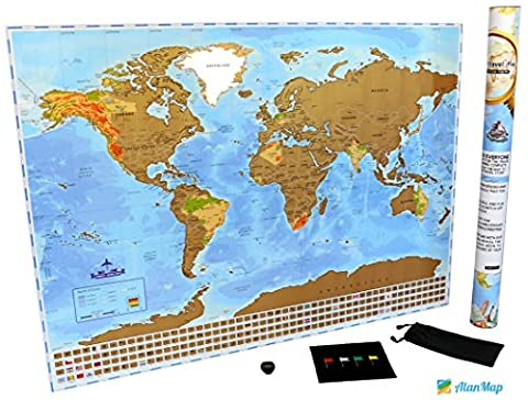 Premium Scratch Off World Map   With US States Outlined and Country Flags   Perfect Gift for Travelers   Deluxe World Travel Map Poster   BONUS Scratch Tool + Wiping Cloth + Flag Pins + Small - Detail Map
