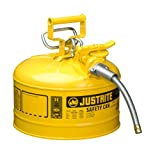 Justrite AccuFlow 7225220 Type II Galvanized Steel Safety Can with 5/8'' Flexible Spout, 2.5 Gallon Capacity, Yellow