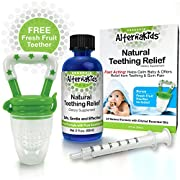 Natural Baby Teething Relief Oil by AlternaKids - Includes Silicone Feeder Pacifier | Made with Clove Oil, Peppermint, Chamomile & Vitamin E, Safe for Infants (2 oz bottle)