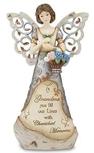 Pavilion Gift Company Elements 9-Inch Angel Holding Basket of Flowers, Grandma