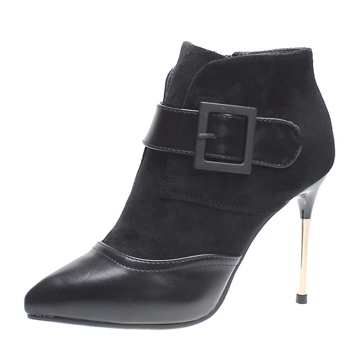KPHY Damenschuhe/Sexy, Kurze Stiefel Mit Hohen 10Cm, Dünne Sohle, Schnalle, Spitze, Elegant, Samt, Ma Dingxue.