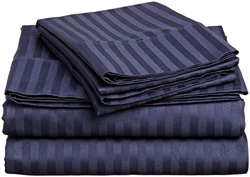 Rajlinen 4 Piece Attached with Fitted Sheet 100% Egyptian Cotton Waterbed Cotton Sheets with 15 inch Drop 600 Thread Count -Luxurious Hotel Collection -(Navy Blue Stripe, ()