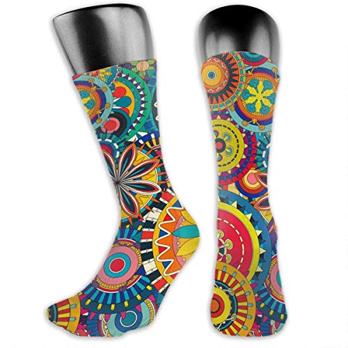 Unisex Psychedelic Trippy Mandala Flower Gear Novelty Stockings Funny Crazy 3D Print Casual Crew Tube Socks
