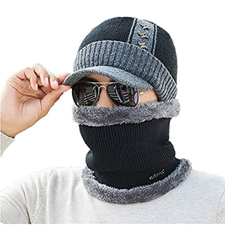 e192667f0b7 Amazon.com  HOKUGA  Cotton Add Fur Brim Winter Hats Skullies Beanies Hat  For Men Women Wool Scarf Caps Mask Gorras Bonnet Knitted Hat  Beauty