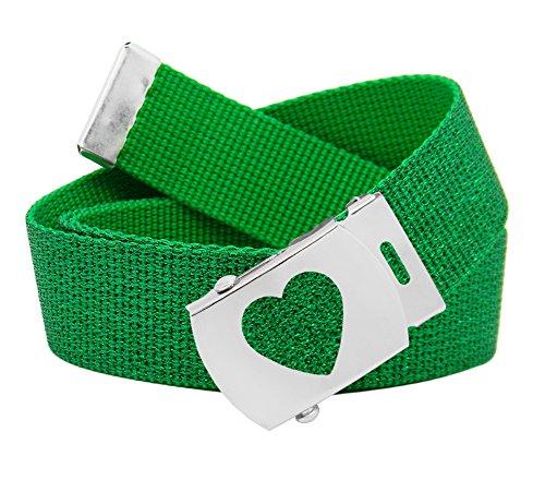 Green Kids Belt (Girl's School Uniform Silver Slider Heart Belt Buckle with Canvas Web Belt Medium Glitter Green)