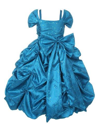 Cinderella Couture Girls Mock Off Shoulder Ball Room Dress 6 Teal(4005)