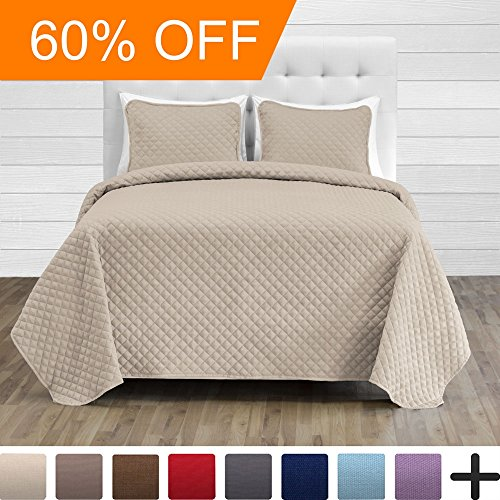 Premium Diamond Stitched 2 Piece Coverlet Set - Ultra-Soft Luxurious Lightweight All Season Bedspread (Twin/Twin XL, Sand)
