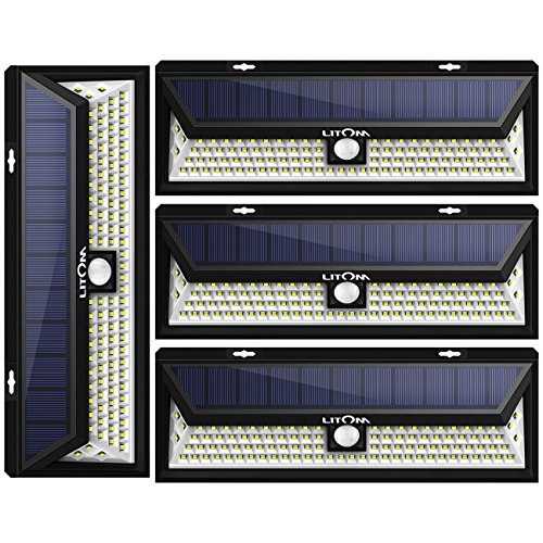 Litom Super Bright Solar Lights 102 LED Solar Power Outdoor Motion Sensor Light With LED on Both Side 4 Pack by Litom
