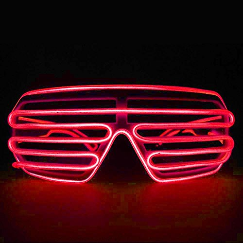 2016 fashion Cool LED EL Wire Glasses Light Up Louvered Shutter Slotted Sunglasses for Raves Party - Louvered Sunglasses